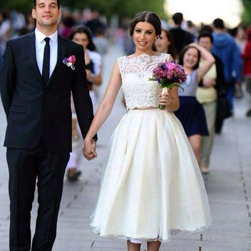 2016 Tea Length White Lace Wedding Dresses A Line Boat