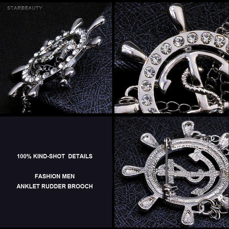 Altın Dümen Çapa Broş Erkek Takım Elbise Yaka Çiceği Rozeti Kore Erkekler için Broş Yaka Pin Kadınlar Broş Zinciri noel hediyesi