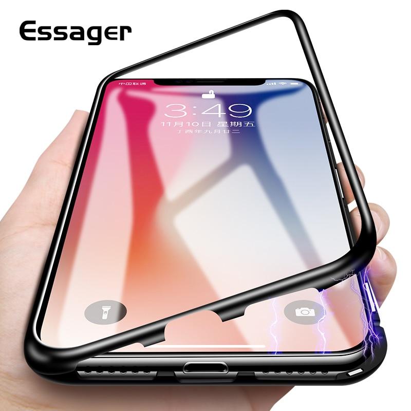 Essager Ultra Adsorbimento Magnetico Cassa Del Telefono Per il iphone X 10 8 7 6 6 s S Plus Coque di Lusso del Metallo magnete Fundas Copertura Posteriore di Vetro