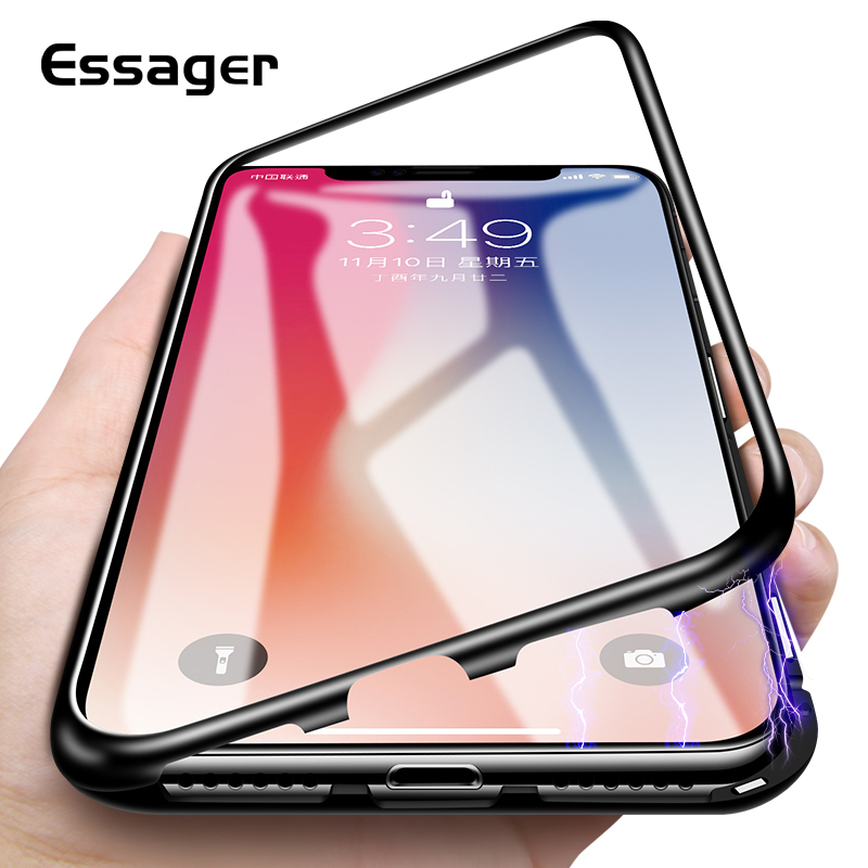 Essager Ultra Magnétique Adsorption Téléphone Cas Pour iPhone X 10 8 7 6 6 s S Plus Coque De Luxe En Métal aimant En Verre Arrière De Couverture Fundas