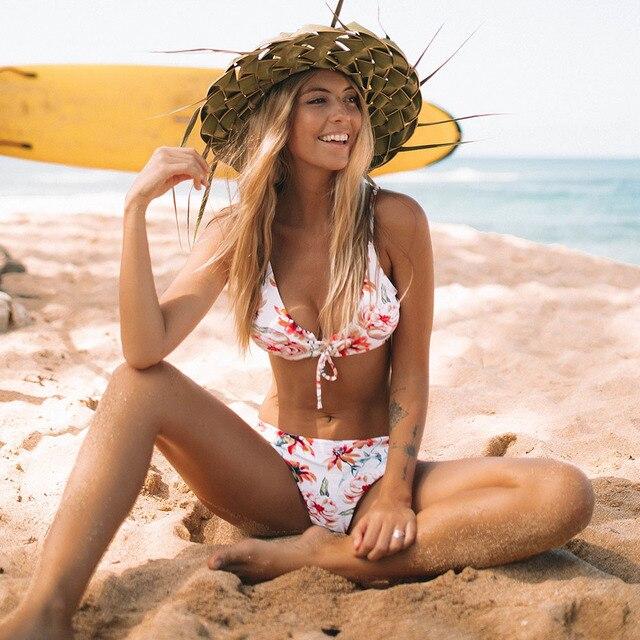 Bikini estampado flores y rayas reversible