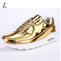 Mens Sports Sneakers Summer Spring PU Leather Running Shoes Male Quality Trainers Black Golden Silver Designer