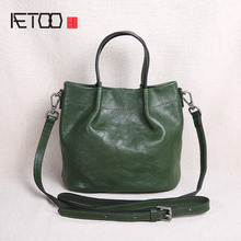 AETOO Original leather handbag mini bag shoulder slung head layer bucket new