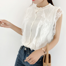 Women Fashion Knitting Patchwork Lace Sweet Cropped Tanks Tops