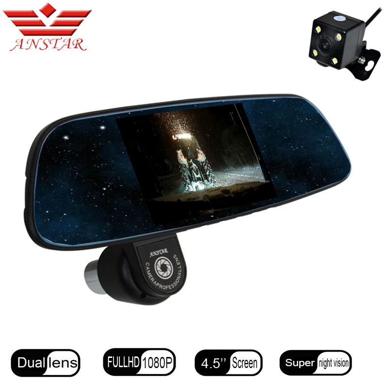 ANSTAR FHD 1080P Car Dvr RearView Mirror Camera Video Recorder Dash Cam Parking Assistance Camcorder Blackbox Automobile DVRs 6000a 1080p 3 0mp 720p 1 3mp car dvr camcorder w 4 3 tft rearview mirror monitor black