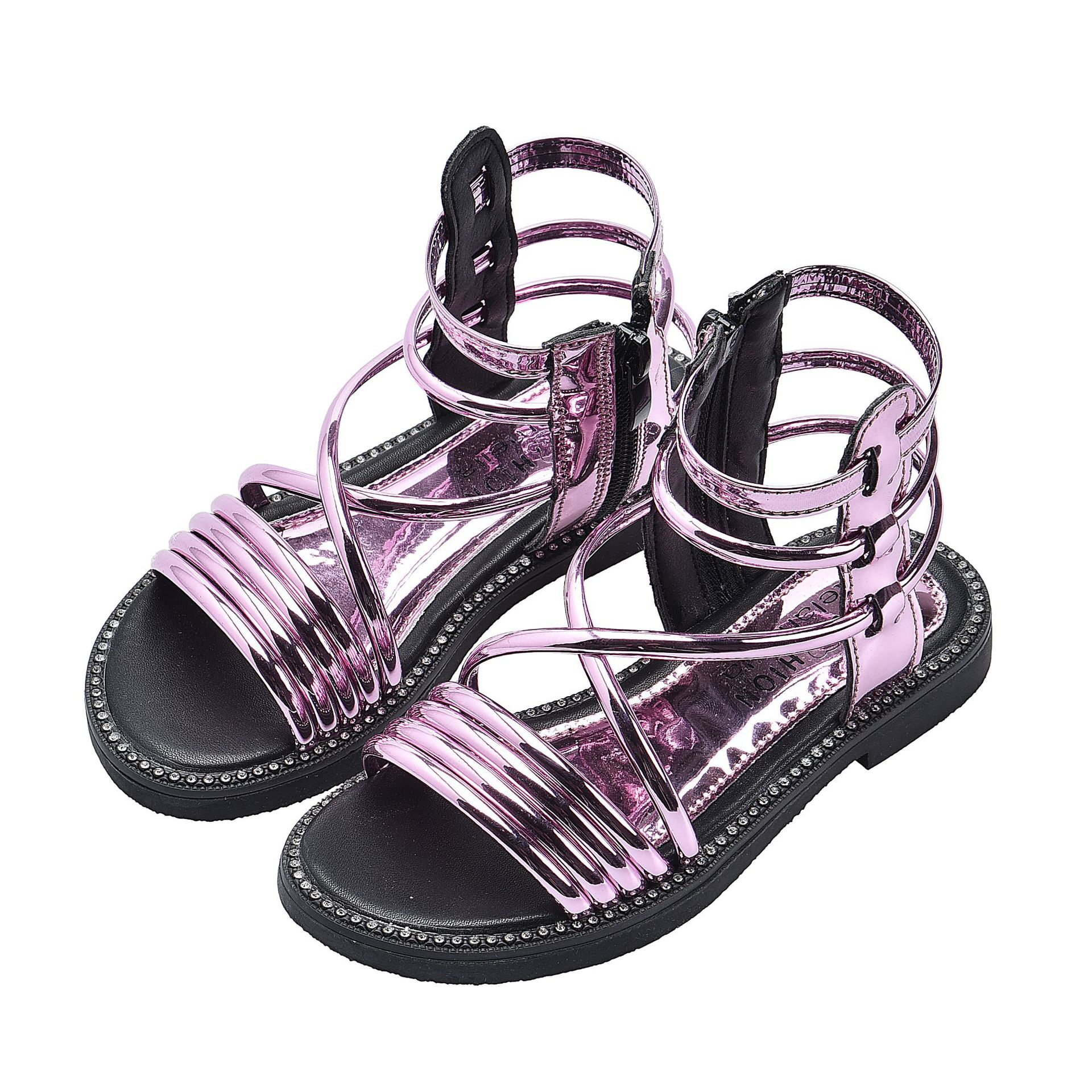 Summer Fashion Roman High-top Girls Sandals Kids Gladiator Sandals Toddler Child Cool Girls Patent Leather High Quality Shoes