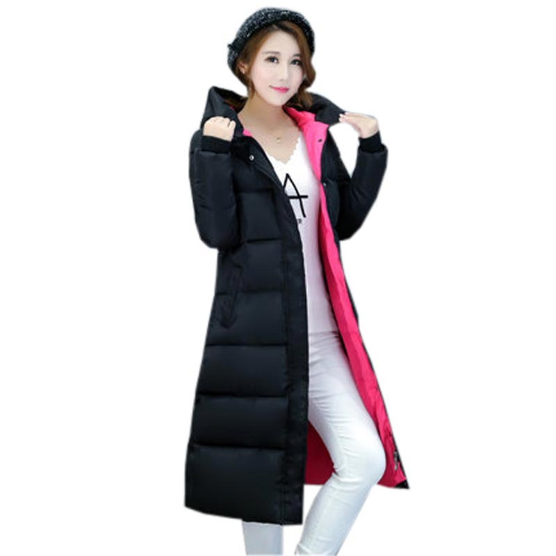 ФОТО 2016 new winter cotton coat female long thick warm wadded parkas women's fashion hooded plus size slim padded over coat kl0495