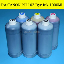 6 Pieces X 1000ML For Canon PFI 102 Dye Ink For Canon iPF500/510/600/605/610/700/710/720 Printer картридж canon pfi 102bk 0895b001 для canon ip ipf500 600 700 710 черный