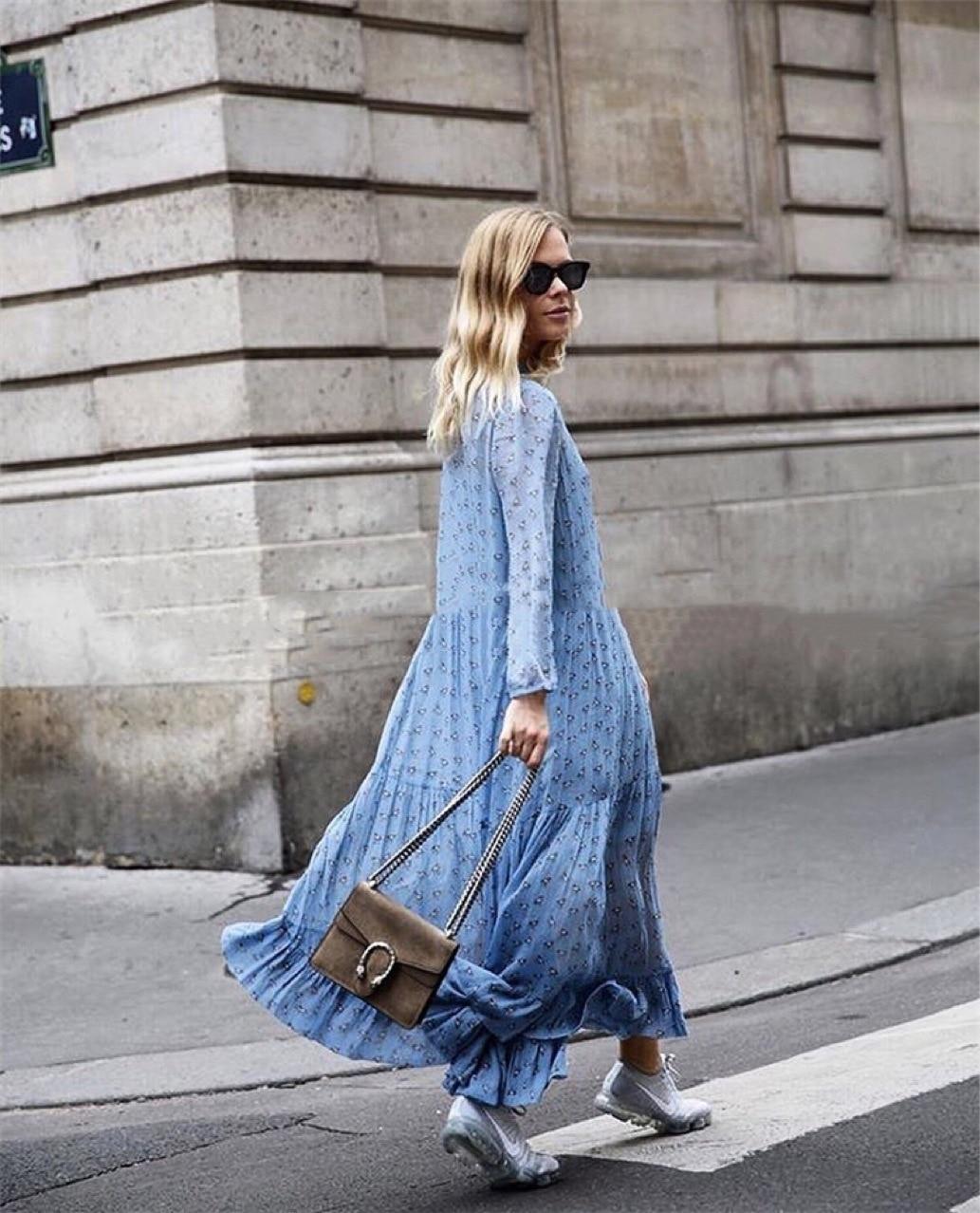 Women Dress Pony Printed Maxi Dress 2019 Elegant and Flowless Stand Collar Long Sleeve Long Dress