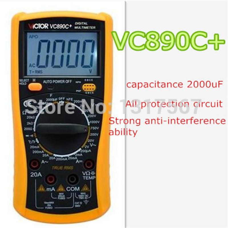 VICTOR VC890C+ Digital Multimeter True multimeter capacitor temperature measurement  multimeter digital professional professional victor vc890c digital multimeter true rms multimeter 2000uf capacitor temperature measurement