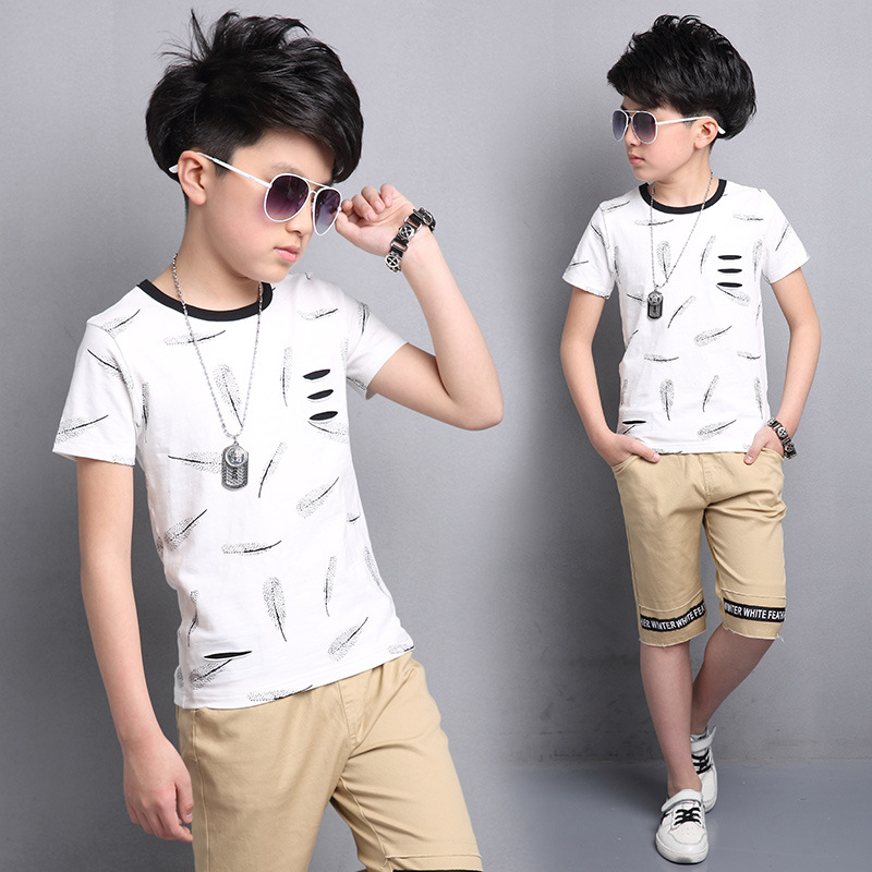 Children's Clothing Sets Boys Summer Clothes Suit Kids Clothing Set Short Sleeve T-shirt+Pants Casual Outfits for 5-16 years  цена