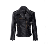 New Fashion Female Spring And Autumn Small Leather Lady Short Paragraph PU Motorcycle Jacket Large Size
