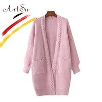 ArtSu Korea Basic Women Cardigan Fleece Long Sweater Elegant 2017 Autumn Winter Knitwear Poncho Female Casual