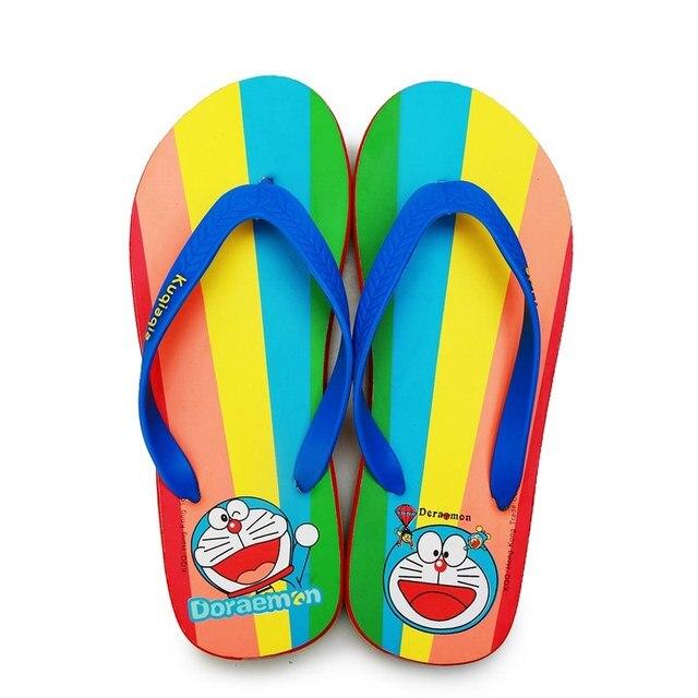 a0d4cdc415dcf9 Doraemon Flip-flops Summer Beach Rainbow Sandals Cartoon Outdoor Sandals  Cute Mesh Slippers Women Men Shoes Students Slippers
