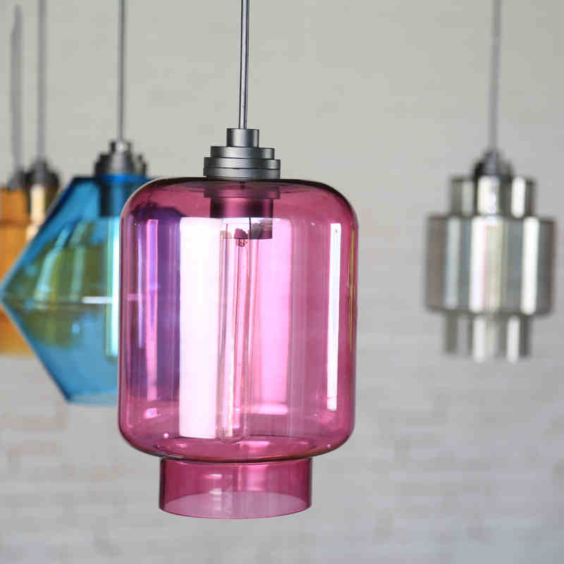 Nordic simple color glass shade modern milk tea shop bar lamp dining room clothing shop hot pot shop small Chandelier bamboo pendant lights pot restaurants