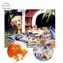 Золотой панно, бисер, Рукоделие, сделай сам, бисерный вышивка крестом, вышивка стежком, точная печатная картина, животный узор крест, собака и кошка