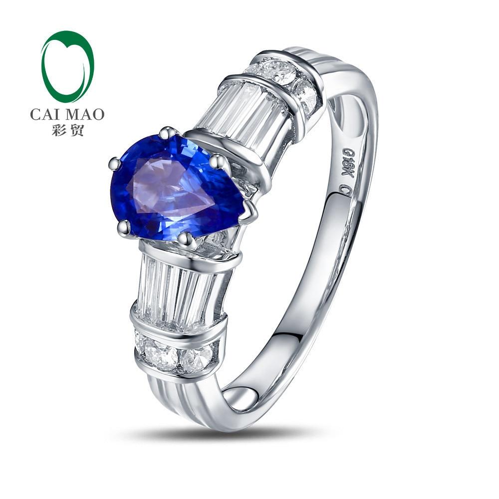 Free shipping 14k White Gold 5x7mm Pear Cut 0 92ct Flashing Blue Tanzanite Gem Diamond Wedding
