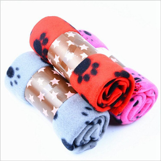 Lovely Pets Mat Soft Warm Fleece Paw Print Design Pet Puppy Dog Cat Mat Blanket Bed Sofa Pet Warm Product Cushion Cover Towel 3