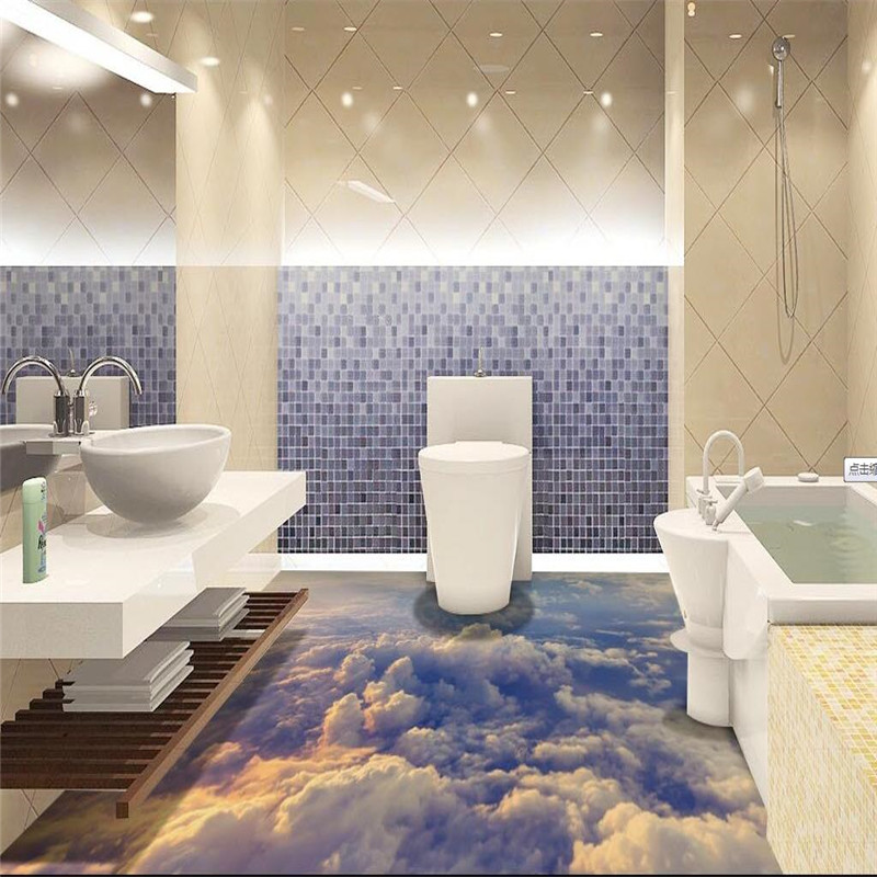 Modern custom 3d floor mural boundless sky clouds non slip for Bathroom floor mural sky