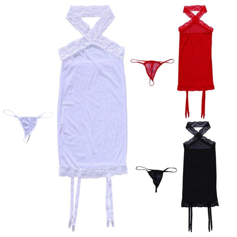 Women Sexy Mesh Suspender Tights Pantyhose Lingerie Sleepwear G-stiring Thong
