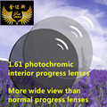 1.61 photochromic progresiva CR39 receta calidad uv400 lentes anti arañazos protecion delgada multifocales lentes de cristales