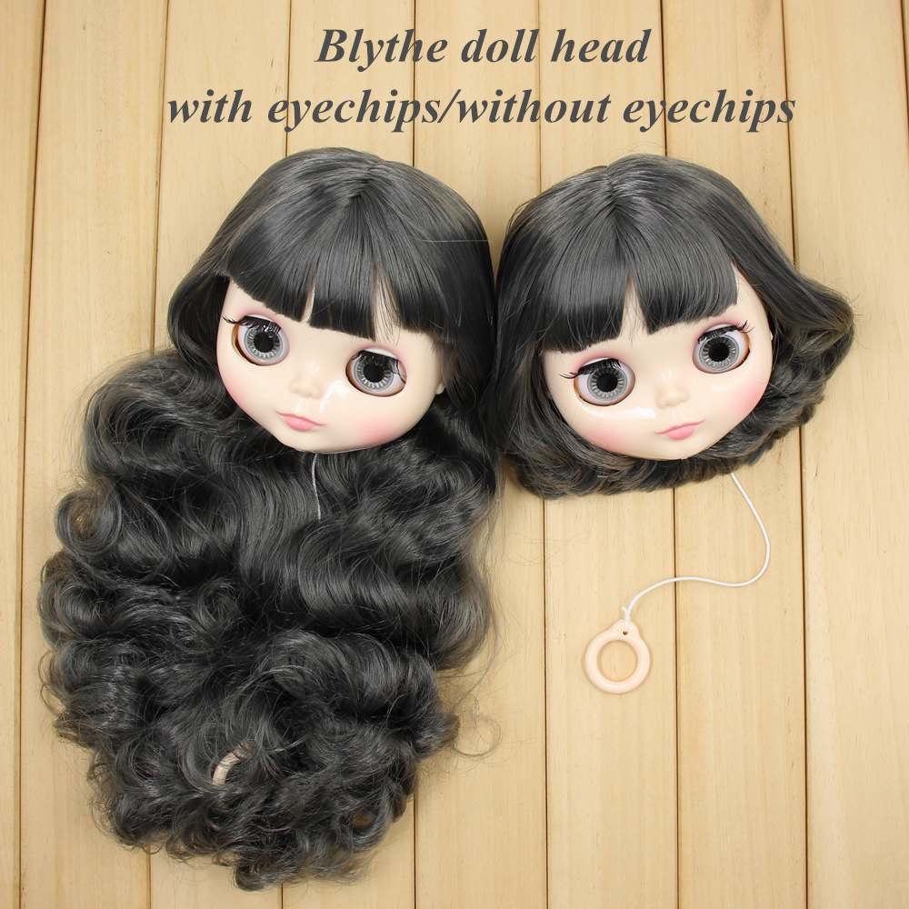 blyth doll head with hair customize DIY 1 6 with or without eyechips Wild dark gray
