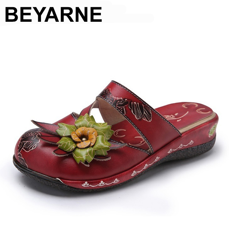 BEYARNE Flower Sandals Genuine Leather Shoes Woman Handmade Slides Flip Flops Platform Clogs For Women Sandals