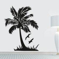 Flying Bird And Palm Tree Wall Sticker Seaside Scenery Bathroom Home Decor DIY Vinyl Removable Wall