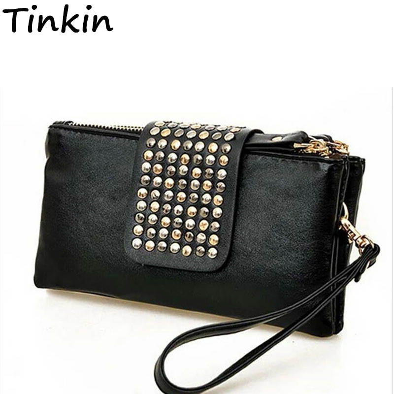 Tinkin New Arrive Hot Selling Pu Leather Fashion Designer Rivet Wallet Fashion Women Day Clutches Punk Style Long Wallet yuanyu 2018 new hot free shipping pearl fish skin long women clutches euramerican fashion leisure female clutches