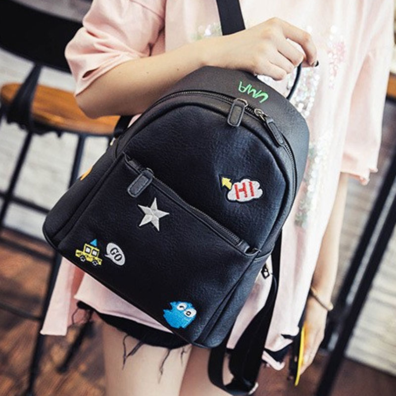 Simple Designer Small Backpack Women White Black Gray Travel PU Leather Backpacks Ladies Fashion Female Rucksack