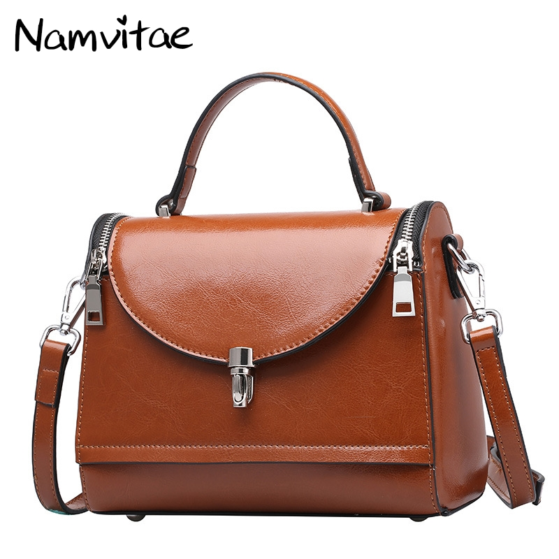 Namvitae Luxury Brand 100% Genuine Leather Women Shoulder Bag Fashion Vintage Female Crossbody Bags Casual Ladies Handbag 100% genuine leather women bags luxury serpentine real leather women handbag new fashion messenger shoulder bag female totes 3