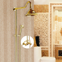 Free Shipping Wholesale And Retail Luxury Gold Brass Shower Faucet Set Single Ceramic Handle Tub Mixer