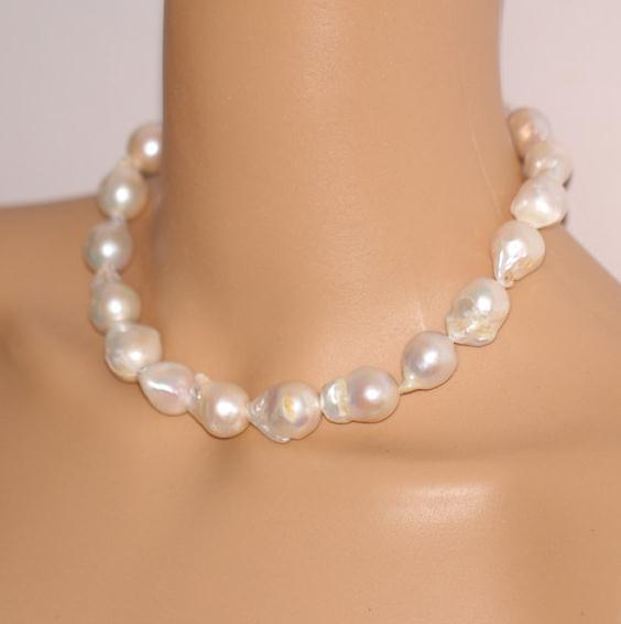 Large White Flameball Pearl Pendant Large Baroque Freshwater Pearl Necklace Black Leather Necklace