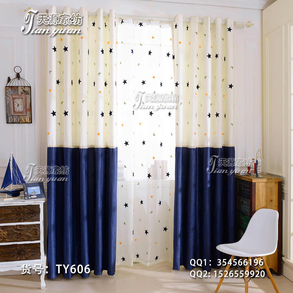 2017 Bedroom Windows Shading Curtain Printing stars Cartoon Curtains And  Tulle Fabric For Living Room Children