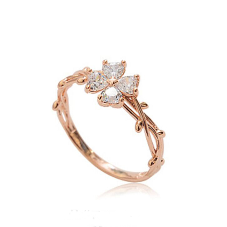 Womens Four Leaf Clover branch stylish AAA CZ Rings Trendy modern stylish fashionable new design quality noble Fine Rings