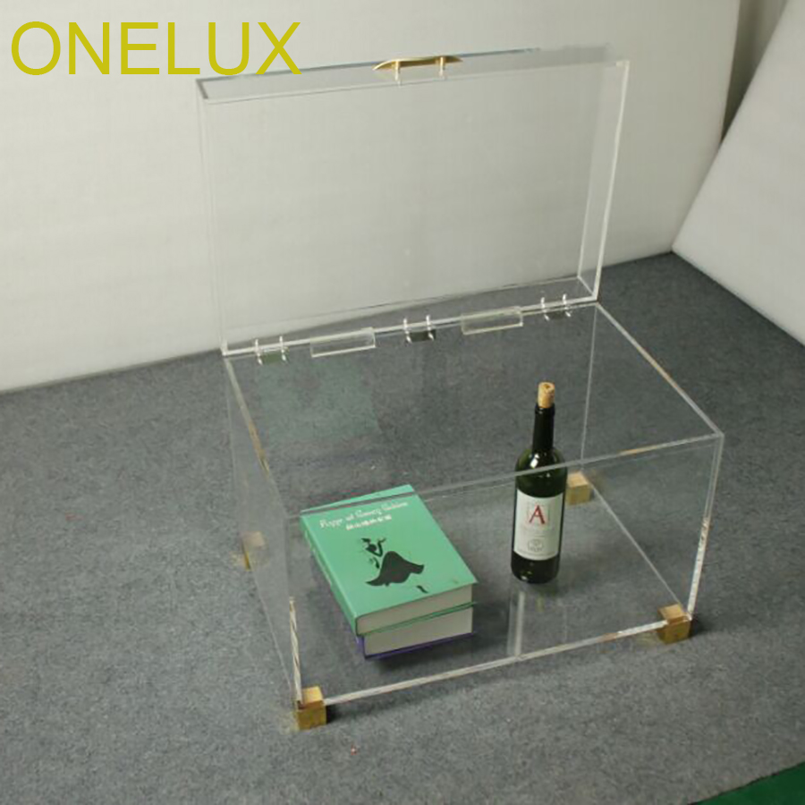Clear Acrylic Storage Chest Table ,Lucite Trunk Tables With Metal Decoration-60W 40D 42H CM цена