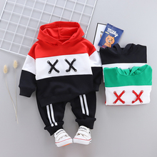 Spring and autumn 2019 new children's clothing baby boy girl sports hooded sweater pants 2 sets of infant children's clothing цены