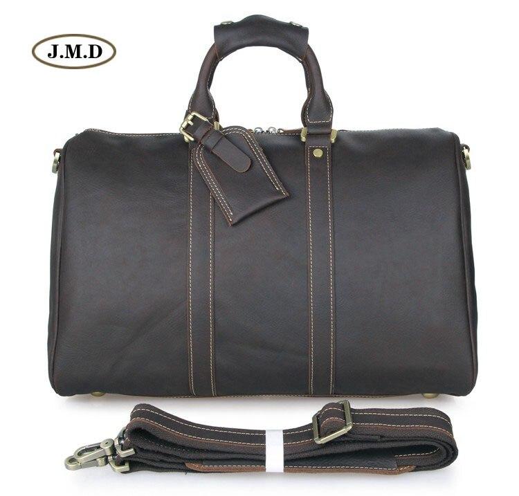 J.M.D Genuine Excellent Vintage Leather Unisex Fashion Simple Design Portable Travel Bag Business Briefcases Duffle Bag 7156LA цена 2017