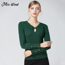 Mix Wind 2017 Autumn And Winter New Women's Self-Cultivation V-Shaped Collar Hollow Sexy Leather Sweater Knot Tie