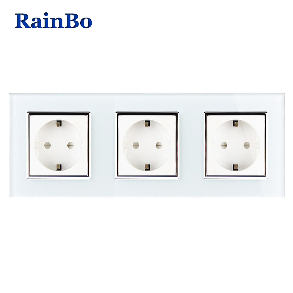 RainBo Brand Manufacturer Wall power Socket EU Standard Crystal Glass Panel AC 110~250V 16A 222*80mm Wall Socket A38E8E8EW/B rainbo brand free shipping wall power socket new outlet france standard crystal glass panel ac110 250v 16a wall socket a18fw b