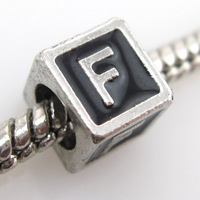 New Arrival 30pcs/lot Letter F Beads Zinc Alloy Square Black Beads 7*7*7mm 150749