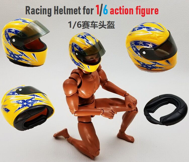 1/6 Scale Plastic Racing Helmet Scene Props  for 12inches action Figure Accessories