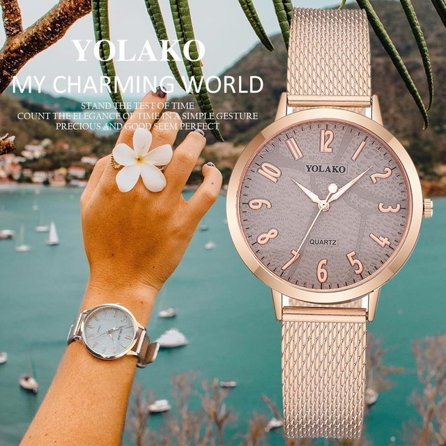 YOLAKO Watches Fashion Women Quartz Wristwatches Luxury Rose Gold Ladies Dress W