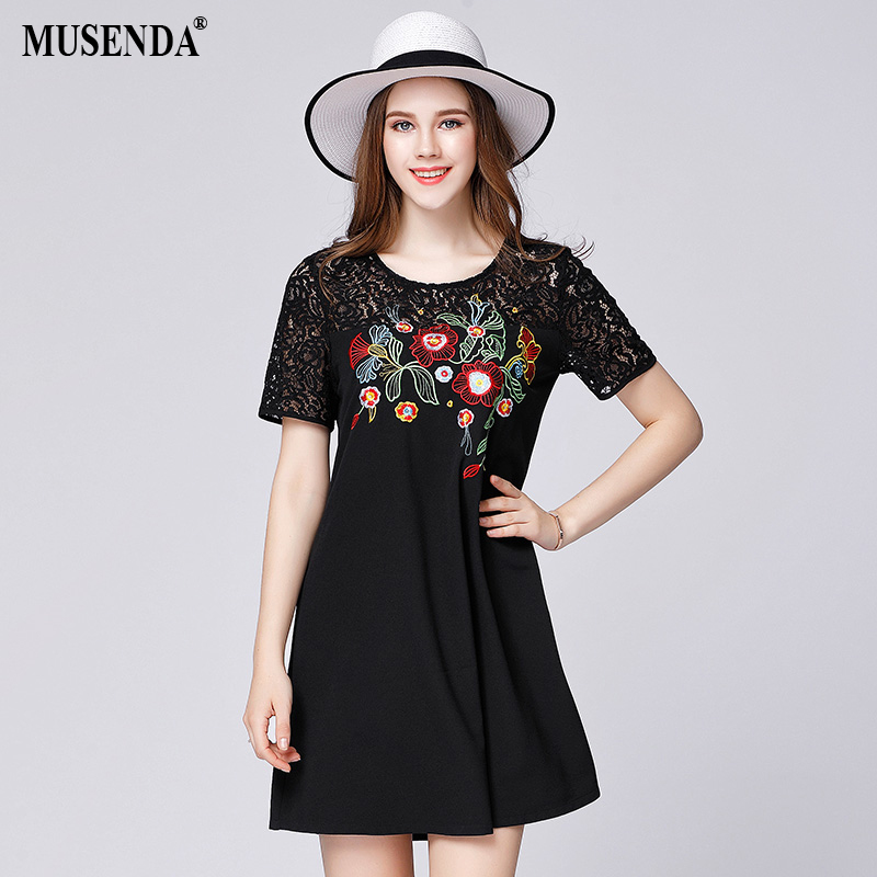 MUSENDA Women Vintage Embroidery Lace Chiffon Patchwork Dress Plus Size 2017 Summer Sundress Lady Brief Fashion Casual Dresses