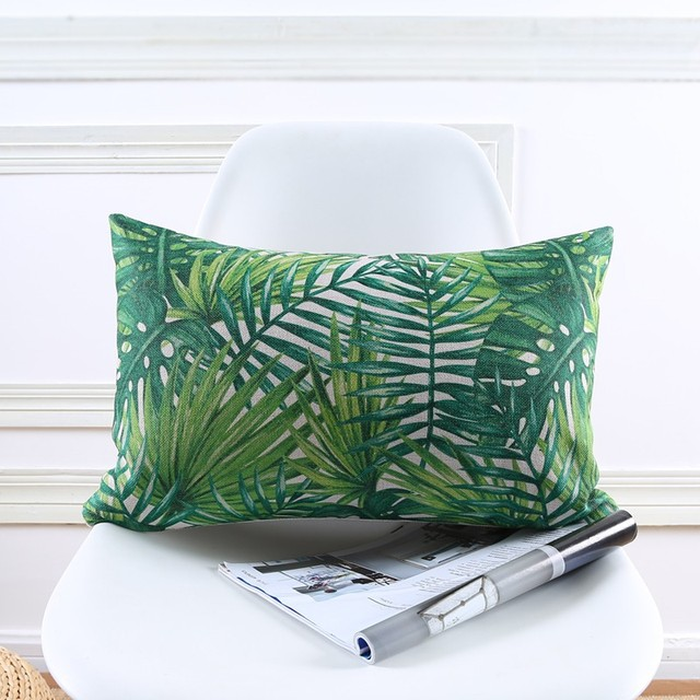 High Quality Summer Jungle Tropical Leaves Green Garden Printed Cushion Cover Decorative Sofa Car Chair Home Decor Pillow Case