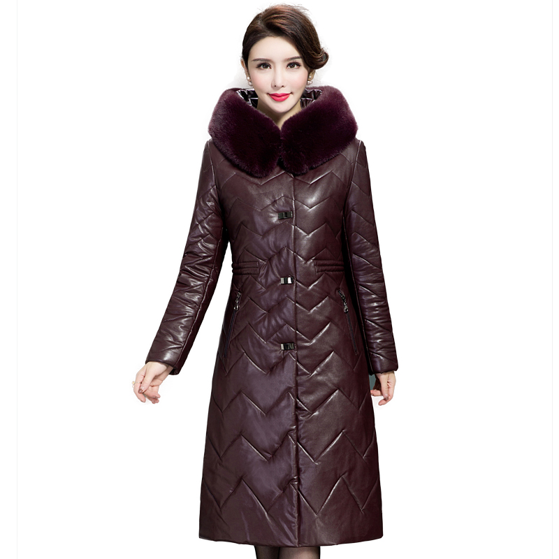 Women Winter Thicken Leather Jacket 2018 New Ladies Fur Collar Hooded Cotton-padded Long Coat PU   Parkas   Female Outerwear 5XL