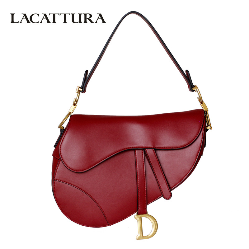 LACATTURA Women Shoulder Bag Luxury Handbags Womens Bags Designer High Quality Leather Fashion Saddle Crossbody Bags for Ladies 2018 business high quality women soft leather tote luxury designer ladies single shoulder bags crossbody bags womens handbags