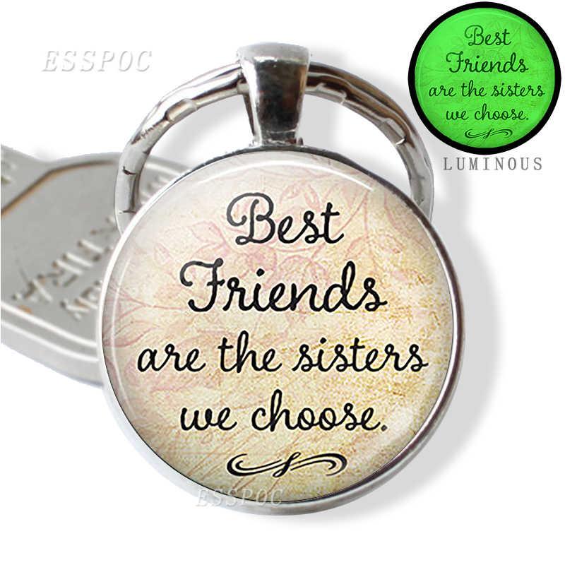 Ювелирные изделия сестры, лучший брелок лучшему другу, первый кулон для матери, сестры всегда брелки светится в темноте подарки ручной работы для влюбленных