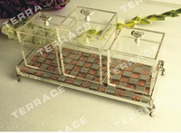 (4pcs/lot) Crystal Lucite Make Up Cosmetic Vanity Case,Acrylic Storage Jewellery Beauty Box