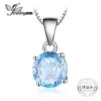 Classic 2 4ct Natural Stone Sky Blue Topaz Pendant Necklaces Real Pure 925 Sterling Silver Chain